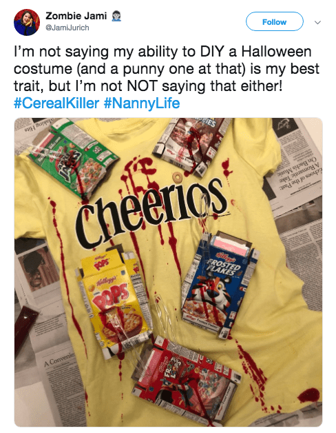 Halloween pun costume - Product - Zombie Jami JamiJurich Follow I'm not saying my ability to DIY a Halloween costume (and a punny one at that) is my best trait, but I'm not NOT saying that either! #CerealKiller #NannyLife ae 3uir a osaoupra any speg uO Cheerios FROSTED FLAKES A Convenie
