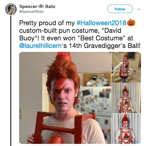 "Halloween pun costume - Human - Batz Spencer eSpencerRKatz Follow Pretty proud of my #Halloween2018 custom-built pun costume, ""David Buoy""! It even won ""Best Costume"" at @laurelhillcem's 14th Gravedigger's Ball! DAVIO"