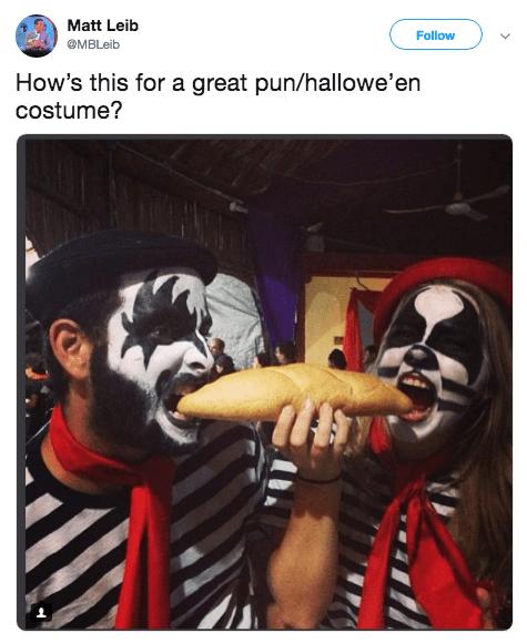 Halloween pun costume - Fictional character - Matt Leib Follow @MBLeib How's this for a great pun/hallowe'en costume?