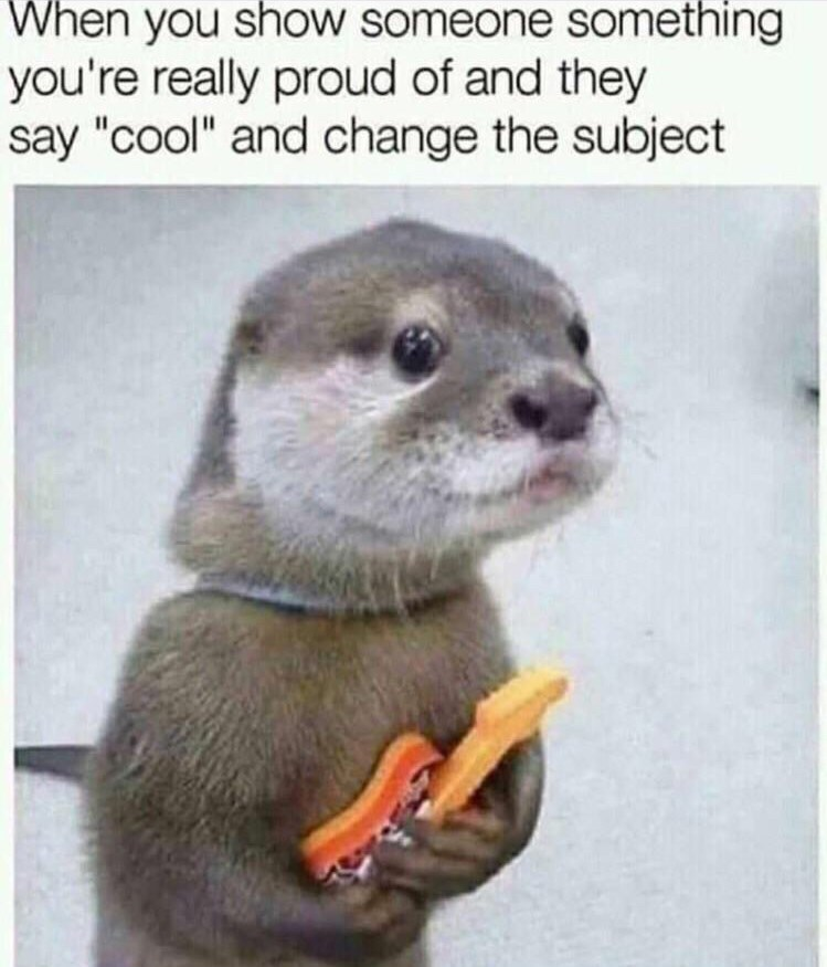 """picture of sad otter clasping small guitar captioned """"when you show someone something you're proud of and they say cool and change the subject"""""""