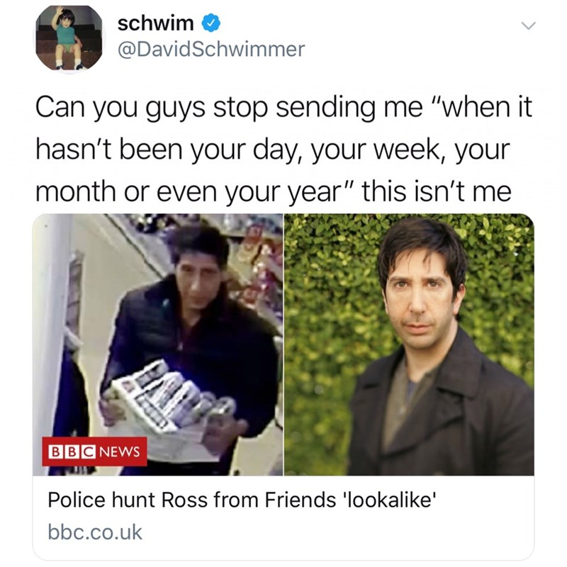 David Schwimmer tweet asking people to stop sending him Friends theme lyrics after his lookalike robbed a store