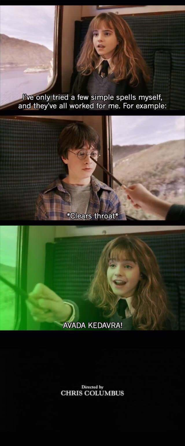 Harry Potter meme about Hermione casting Avada Kedavra and ending the movie early