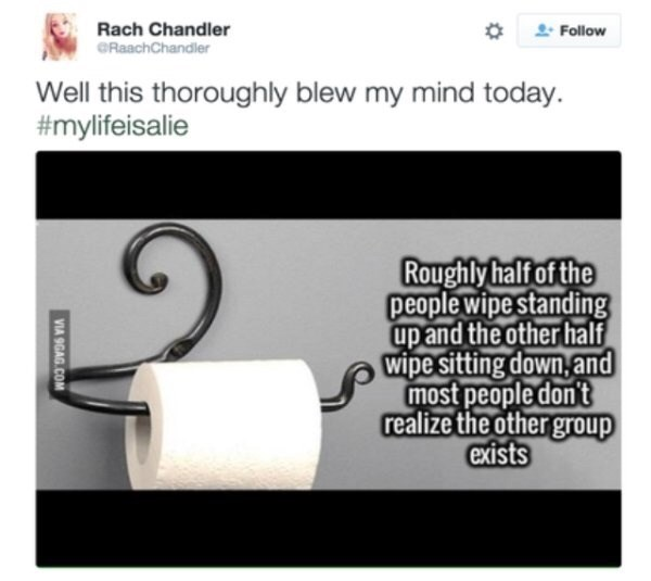 Text - Rach Chandler Follow CRaachChandler Well this thoroughly blew my mind today. #mylifeisalie Roughly half of the people wipe standing up and the other half wipe sitting down,and most people don't realize the other group exists VIA 9GAG.COM