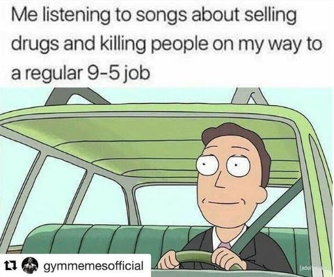 meme about listening to violent heavy music on the way to 9-5 office job with picture from Rick and Morty