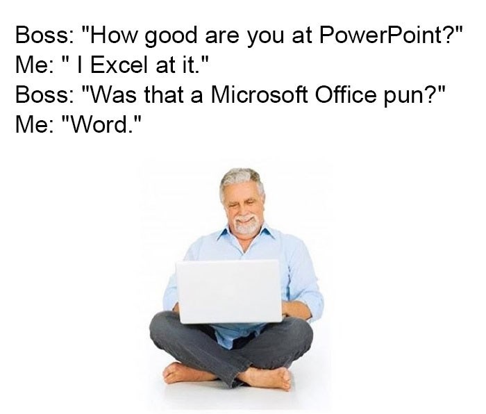 Microsoft Office puns with picture of man laughing in front of laptop