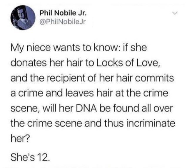 stupid meme about donating hair and it being able to trace back to you