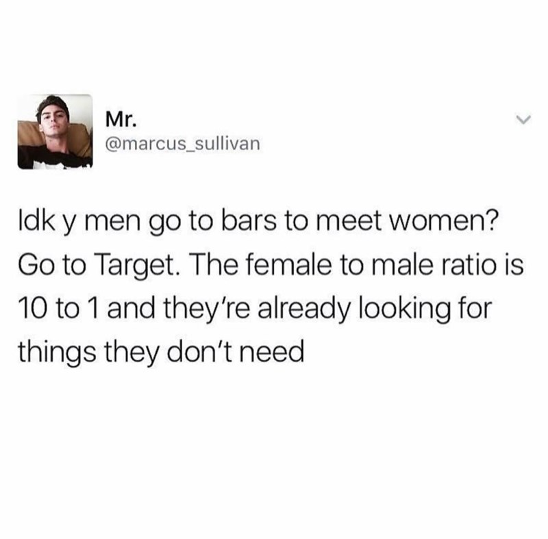 stupid meme about meeting women at Target instead of Bars
