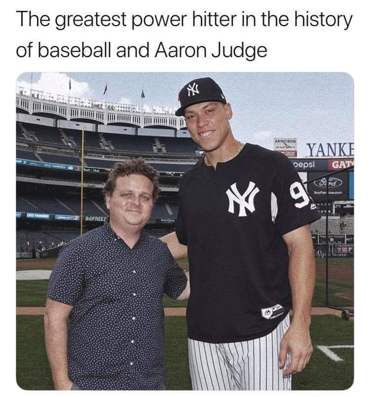 "Caption that reads, ""The greatest power hitter in the history of baseball and Aaron Judge"" above a pic of Ham from The Sandlot next to pro baseball player Aaron Judge of The Yankees"