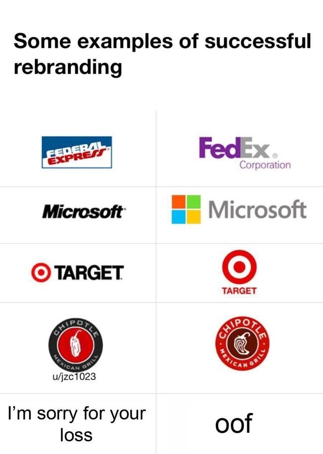 Text - Some examples of successful rebranding FEDERAL EXPRESS FedEx Corporation Microsoft Microsoft TARGET TARGET BERIDGITIL CH CAIPOILA GRILL u/jzc1023 BATIANSE I'm sorry for your loss oof 17/ WEXIO 111 MEXI