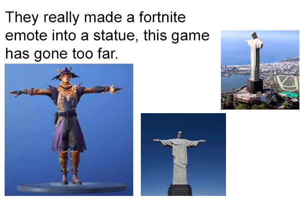 Landmark - They really made a fortnit emote into a statue, this game has gone too far.