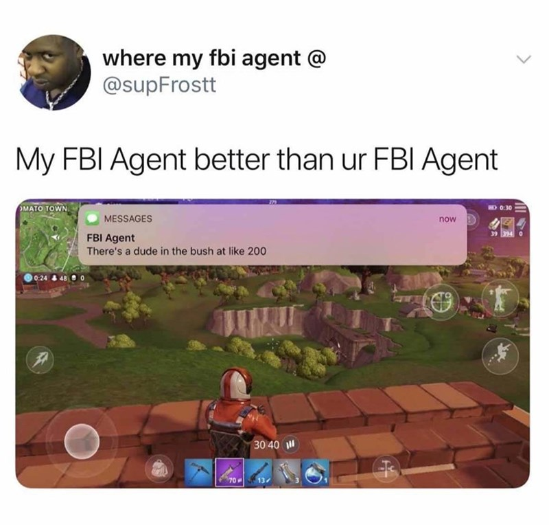 better FBI agent helping during Fortnite game