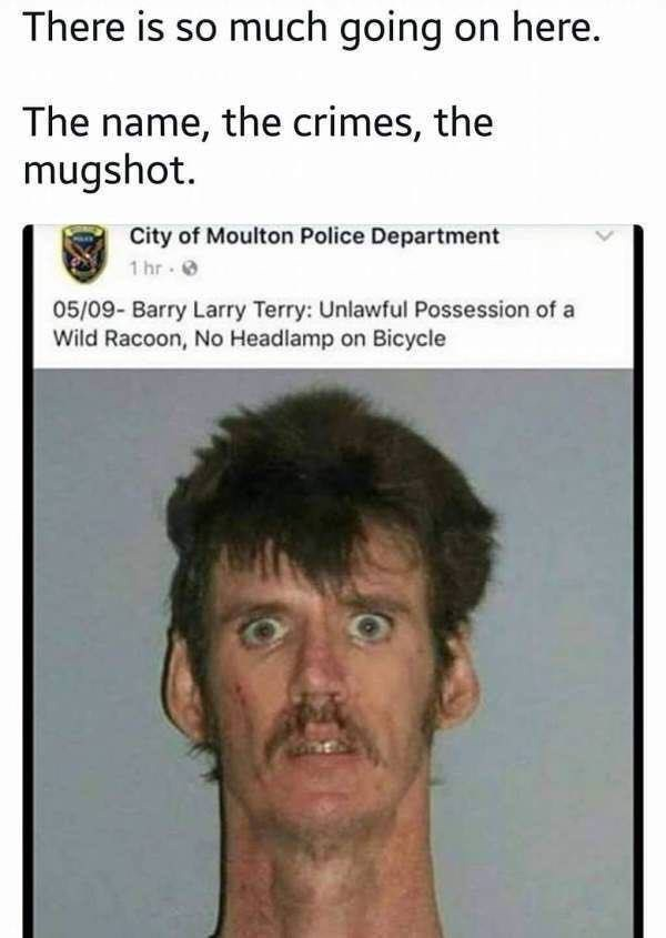 Mugshot of Barry Larry Terry who was arrested for possession of wild raccoon and no headlamp on bicycle
