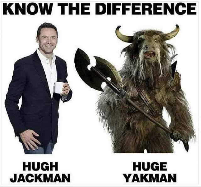 difference between actor Hugh Jackman and huge yak man with picture of horned beast carrying axe