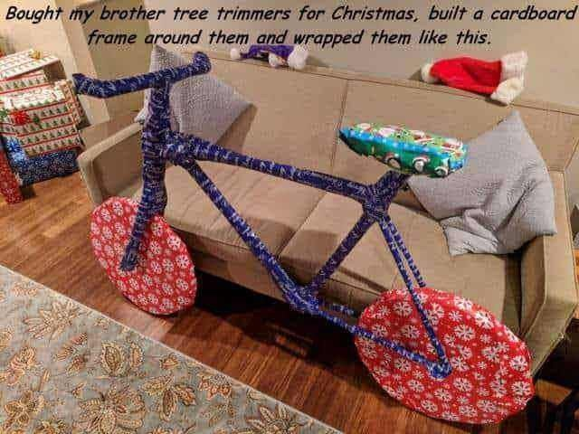 picture of tree trimmers wrapped as bicycle as Christmas gift