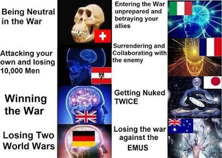 meme about different countries during world wars with Australia losing the war against emus