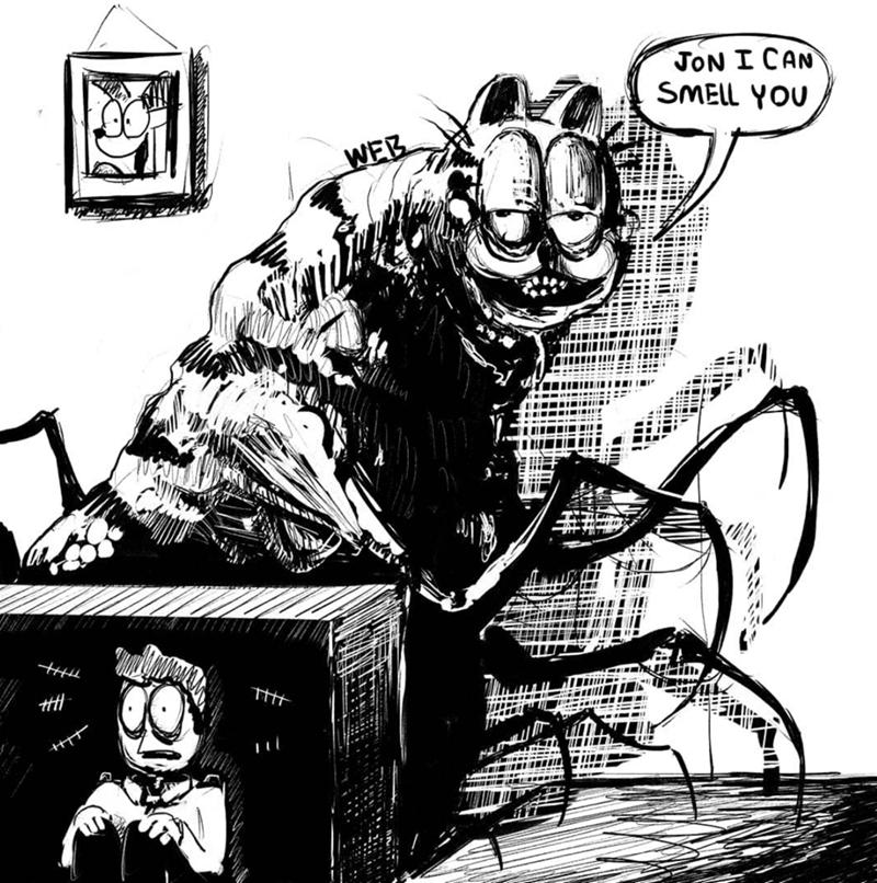 creepy garfield - Cartoon - JON I CAN SMELL YOU WEB H