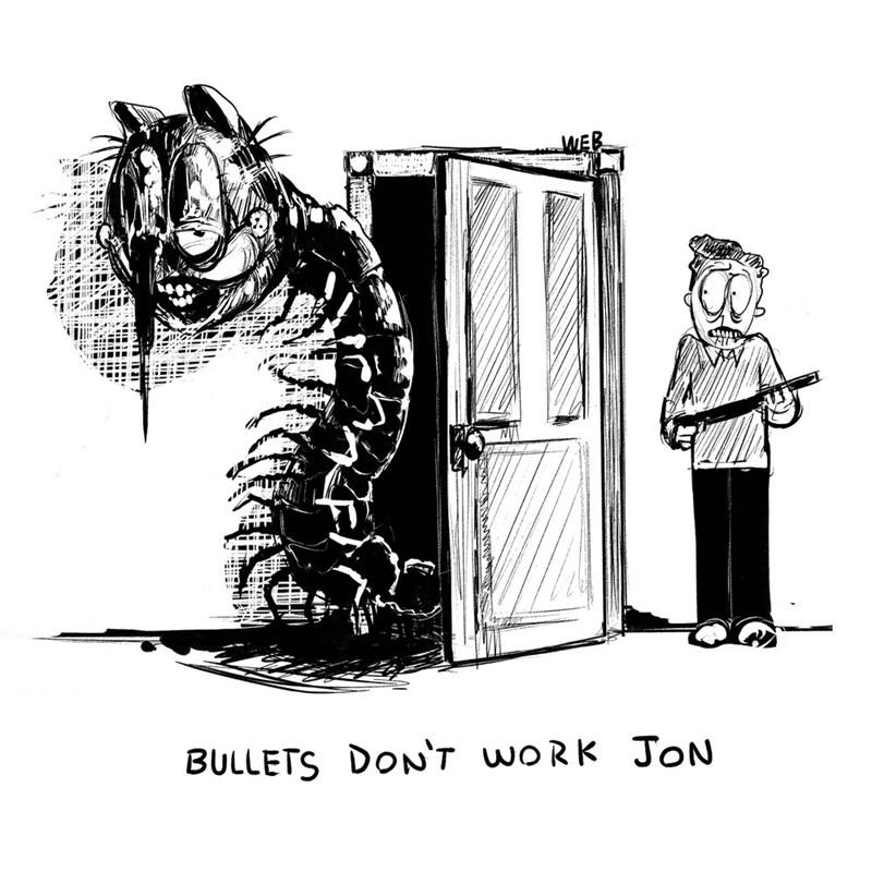 creepy garfield - Cartoon - BULLETS DON'7 woRK JoON