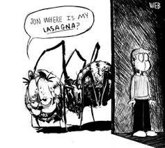creepy garfield - Cartoon - WEB JON WHERE IS MY LASA GNA?