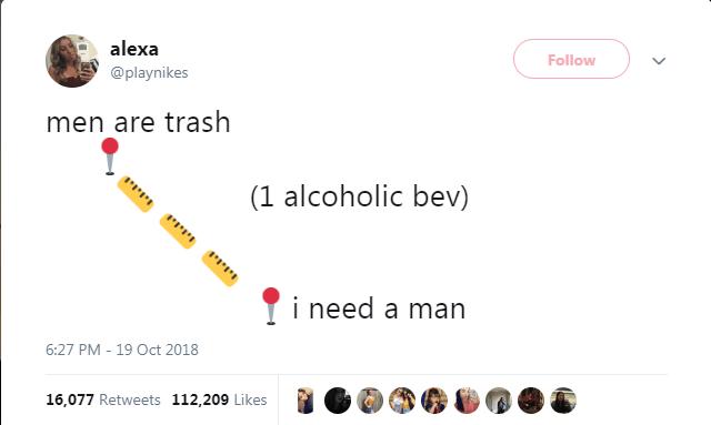Text - alexa Follow @playnikes men are trash (1 alcoholic bev) i need a man 6:27 PM - 19 Oct 2018 16,077 Retweets 112,209 Likes