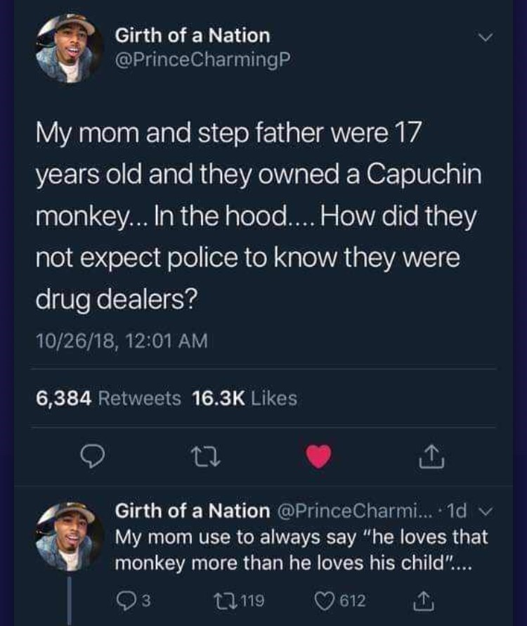 """Text - Girth of a Nation @PrinceCharmingP My mom and step father were 17 years old and they owned a Capuchin monkey... In the hood.... How did they not expect police to know they were drug dealers? 10/26/18, 12:01 AM 6,384 Retweets 16.3K Likes Girth of a Nation @PrinceCharmi... 1d My mom use to always say """"he loves that monkey more than he loves his child""""... 612 t119 3"""