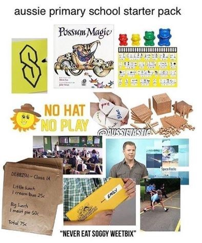 starter pack meme about Aussie primary school