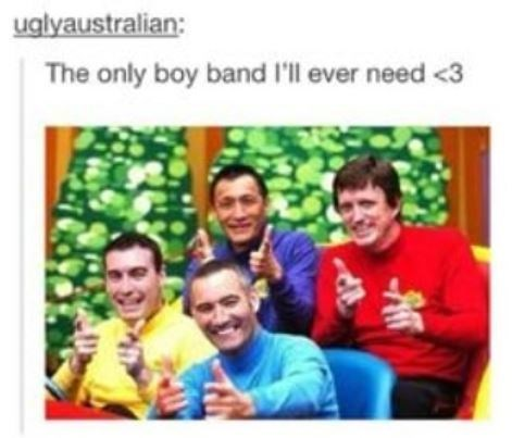 "Tumblr post that reads, ""The only boy band I'll ever need"" above a pic of The Wiggles"