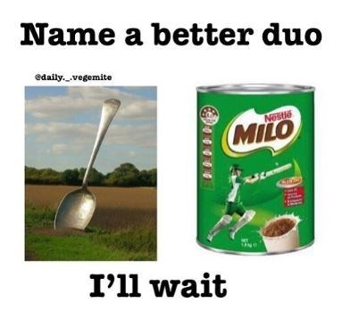 name a better duo meme about eating Milo spread with spoon