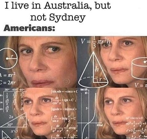 math lady meme about Americans not knowing any places in Australia other than Sydney