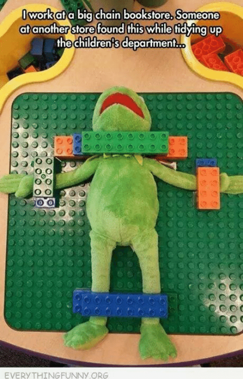 meme about Kermit the frog doll found ready for dissection in children's department