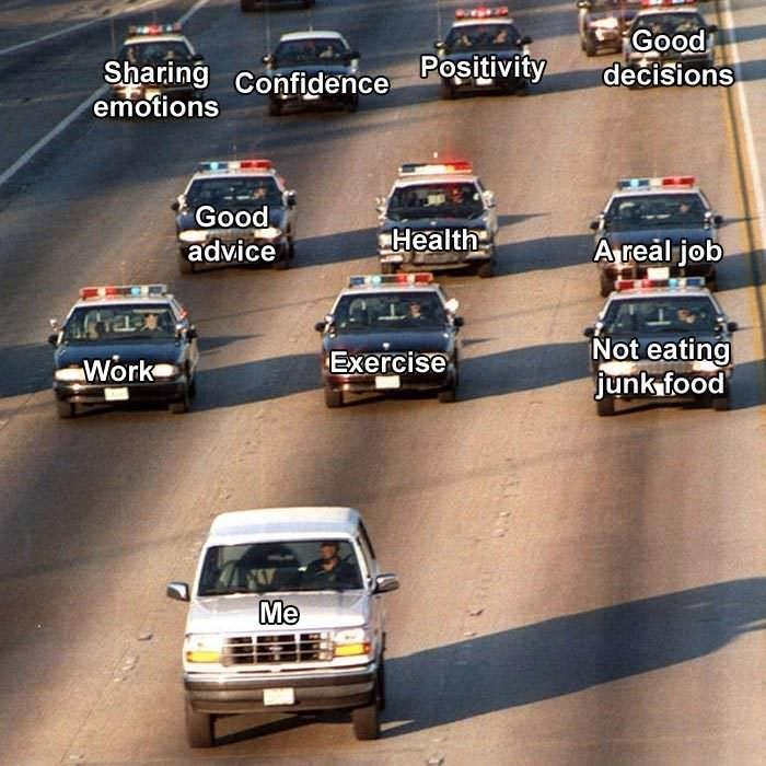 meme about running away from positive things with picture of van chased by police cars