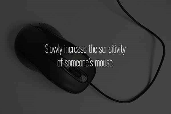 text about slowly increasing sensitivity of someone's mouse over picture of computer mouse