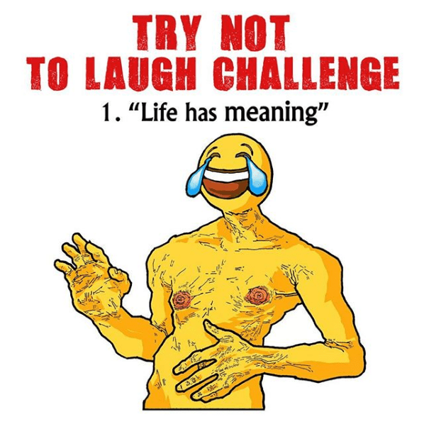 try not to laugh challenge with emoji man crying and laughing at the idea that life has meaning