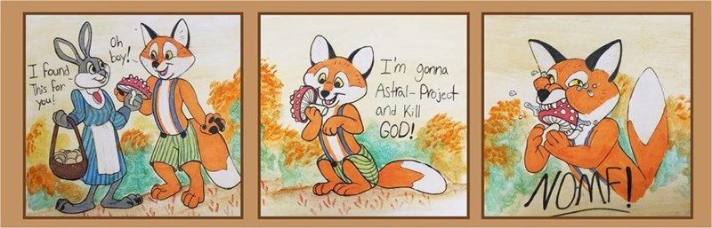 comic of cartoon fox consuming mushroom in order to astral project and kill god