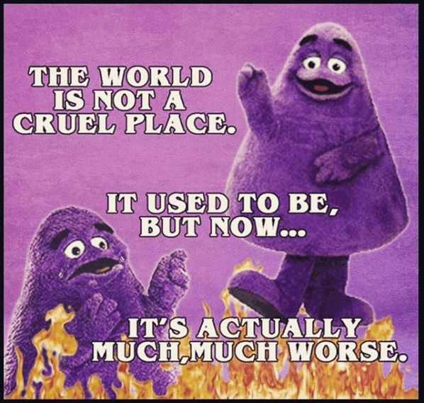 """picture of McDonald's Grimace between flames with the caption """"the world is not a cruel place, now it's much worse"""""""