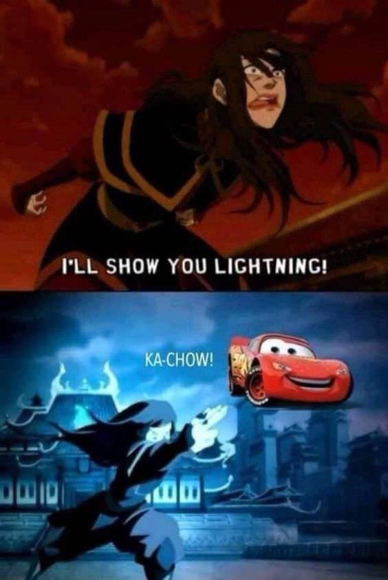 Avatar meme with picture of Azula throwing Lightning McQueen from Cars