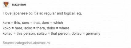 Tumblr posts about Japanese language being regular and logical
