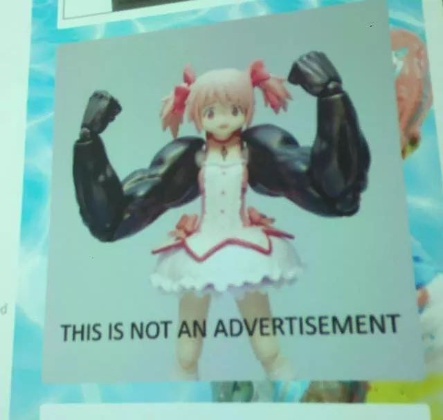 "picture of anime girl with buff arms captioned ""this is not an advertisement"""