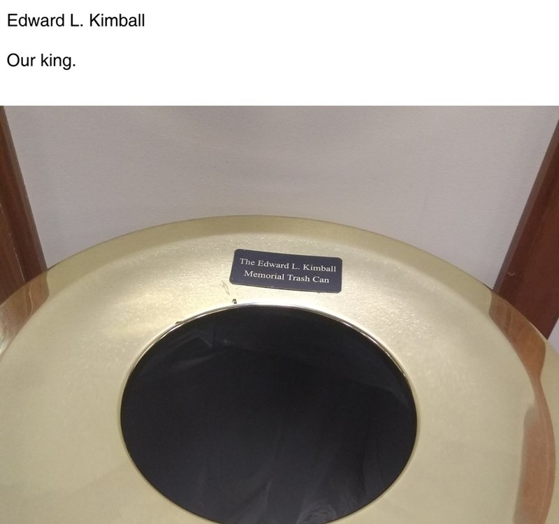 picture of memorial trash can of Edward L. Kimball