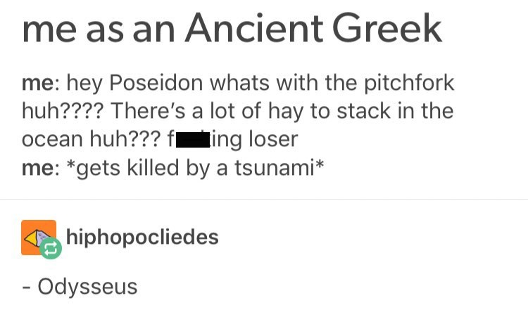 ancient Greece meme about Odysseus getting killed by Poseidon