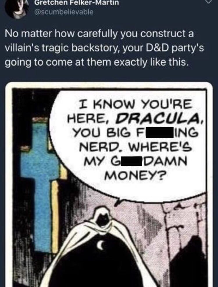 dungeons and dragons meme about constructing villain's backstory