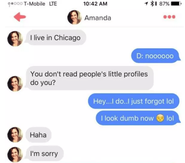 Amanda on tinder flirts with man but says she is from Chicago