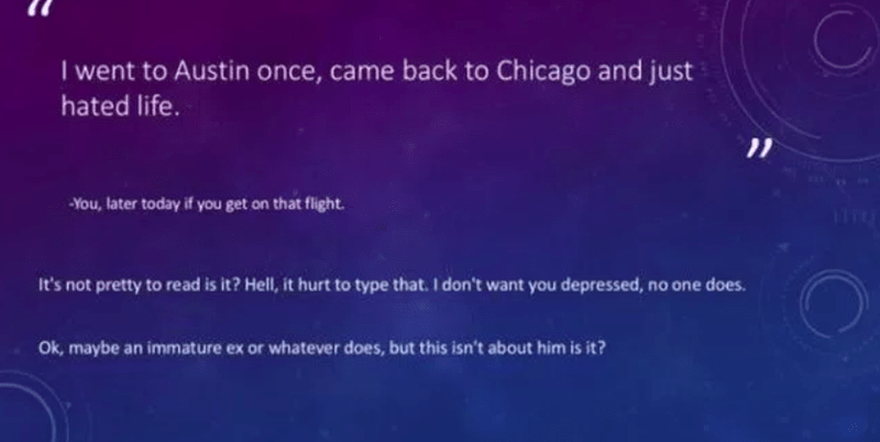 joke in the powerpoint about hating life if she goes back to Chicago