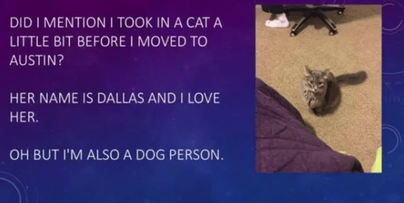 cat named Dallas even though he is a dog person