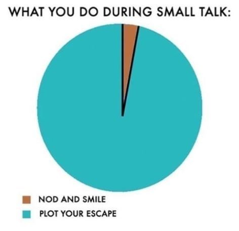 "Caption that reads, ""What you do during small talk"" where the chart represents 'nod and smile' and 'plot your escape'"