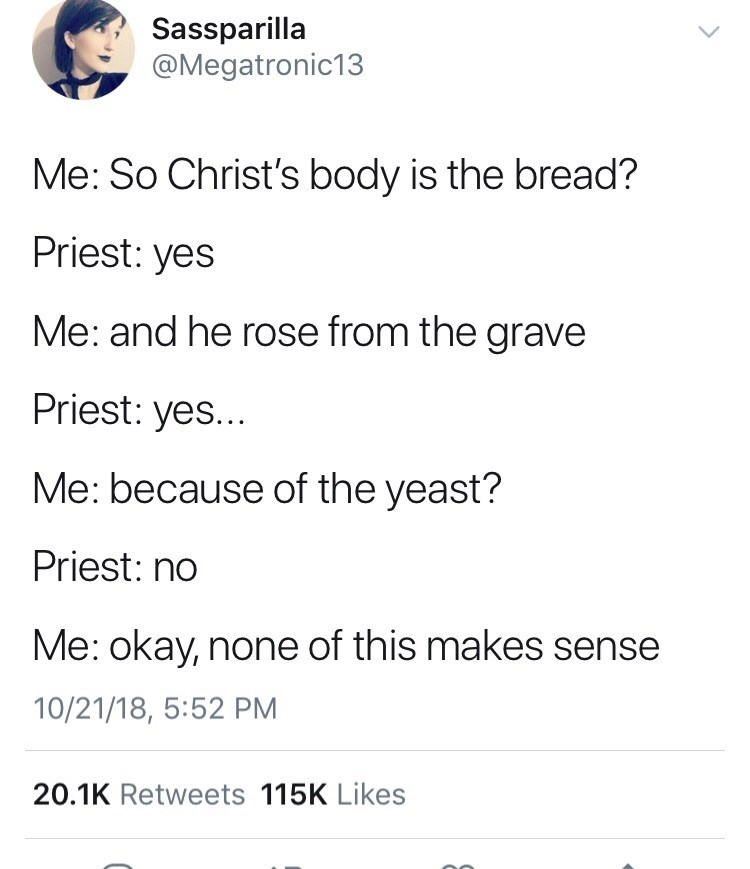 tweet about Jesus coming from bread
