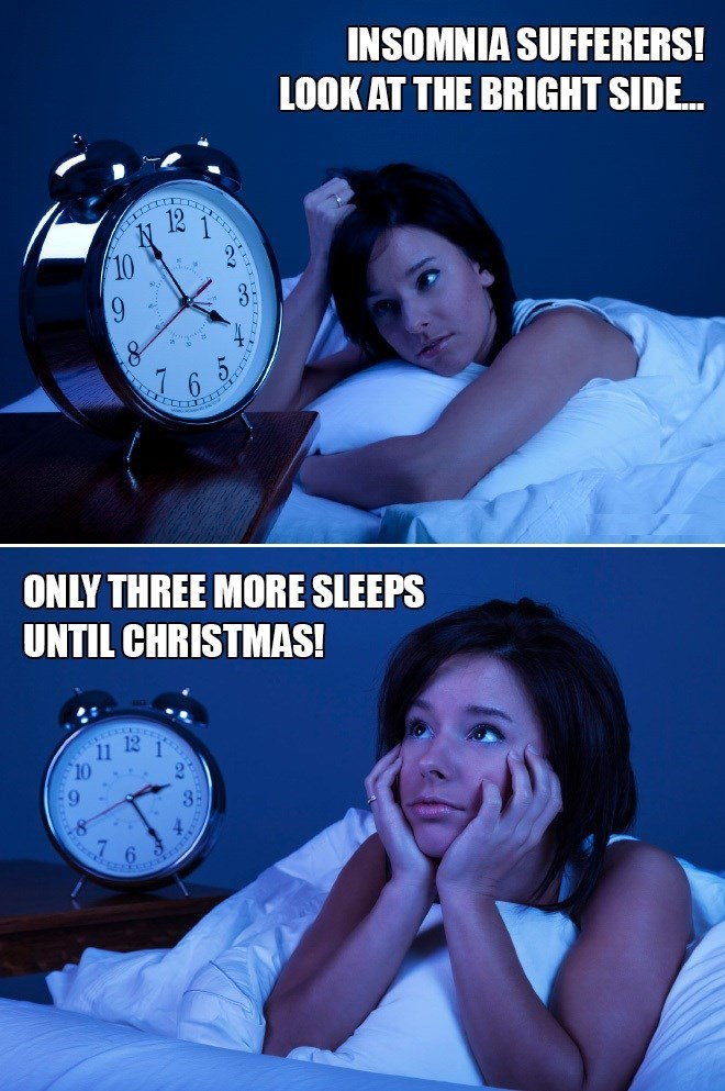 meme about insomnia sufferers having less sleeps until Christmas with pictures of woman in bed staring at clock
