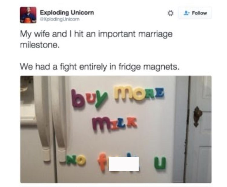 Tweet about married couple having fight entirely in fridge magnets