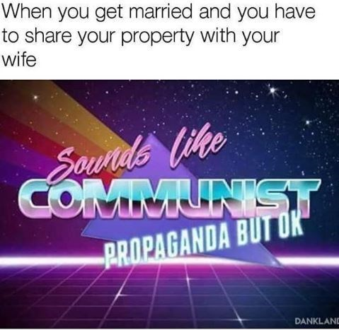 retrowave text meme about sharing property with wife sounding like communist propaganda