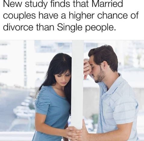 "picture of couple separated by wall captioned ""married couples have higher chance of divorce than single people"""