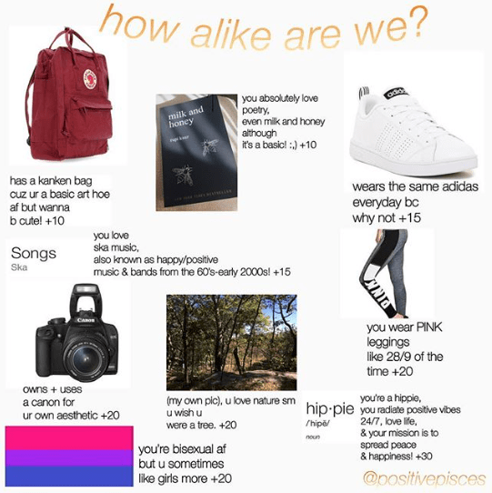 """""""How alike are we"""" starter pack which includes Victoria's Secret Pink leggings and poetry"""